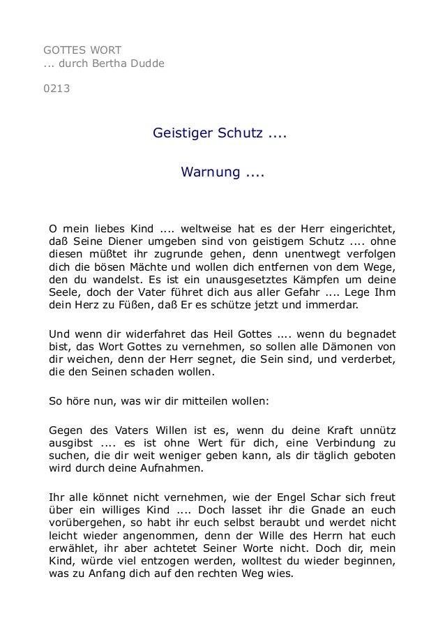 GOTTES WORT ... durch Bertha Dudde 0213 Geistiger Schutz .... Warnung .... O mein liebes Kind .... weltweise hat es der He...