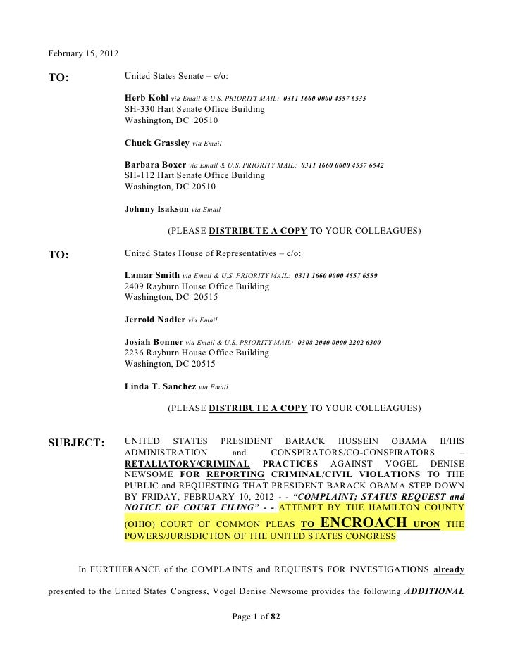 02/15/12 - UNITED STATES CONGRESSIONAL COMPLAINT