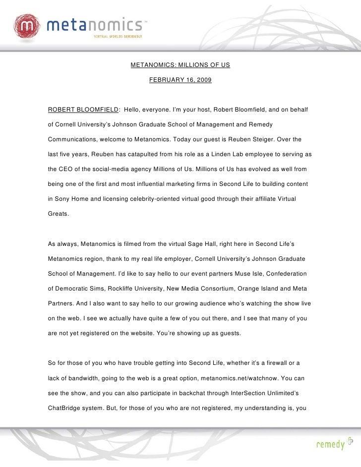 METANOMICS: MILLIONS OF US                                      FEBRUARY 16, 2009    ROBERT BLOOMFIELD: Hello, everyone. I...