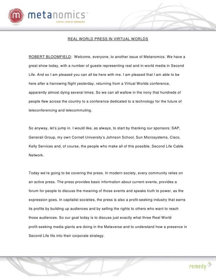 021808 Real World Press Metanomics Transcript