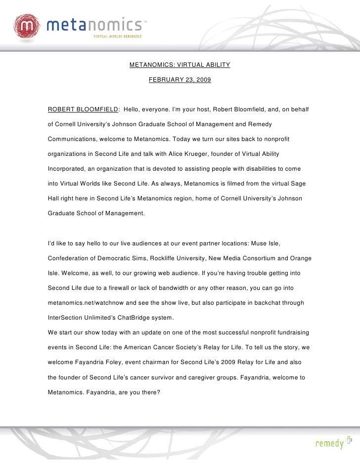 METANOMICS: VIRTUAL ABILITY                                       FEBRUARY 23, 2009    ROBERT BLOOMFIELD: Hello, everyone....