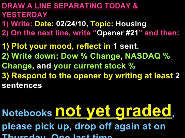 "DRAW A LINE SEPARATING TODAY & YESTERDAY 1) Write:   Date:  02/24/10 , Topic:  Housing 2) On the next line, write "" Opener..."