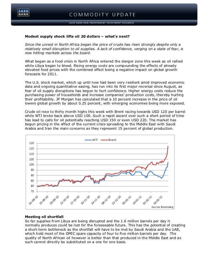Modest supply shock lifts oil 20 dollars – what's next?Since the unrest in North Africa began the price of crude has risen...