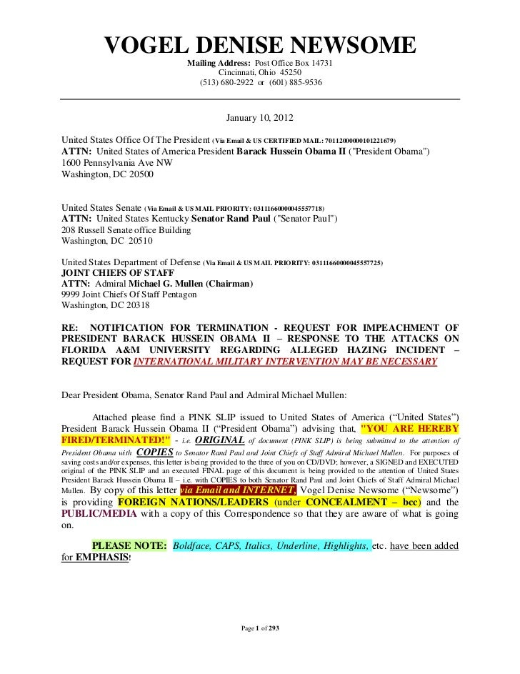"""02/28/12 UPDATED LINKS FOR -  01/10/12 """"NOTIFICATION FOR TERMINATION - REQUEST FOR IMPEACHMENT OF PRESIDENT BARACK HUSSEIN OBAMA II – RESPONSE TO THE ATTACKS ON FLORIDA A&M UNIVERSITY REGARDING ALLEGED HAZING INCIDENT – REQUEST FOR INTERNATIONAL MIL"""