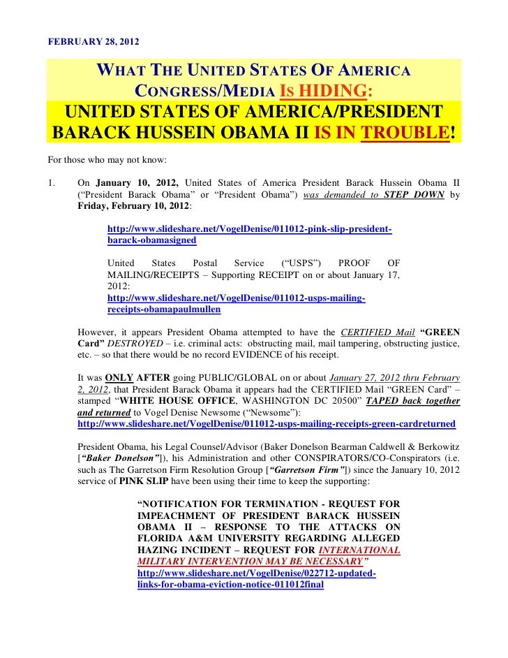 FEBRUARY 28, 2012     WHAT THE UNITED STATES OF AMERICA        CONGRESS/MEDIA IS HIDING:  UNITED STATES OF AMERICA/PRESIDE...