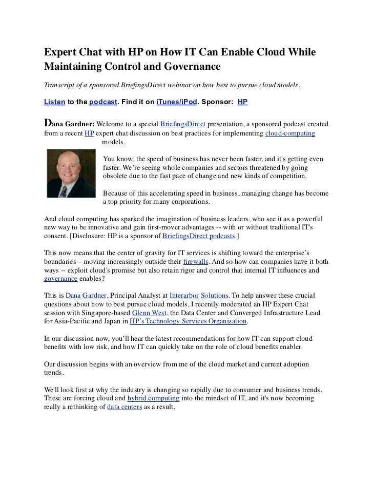 Expert Chat with HP on How IT Can Enable Cloud While Maintaining Control and Governance