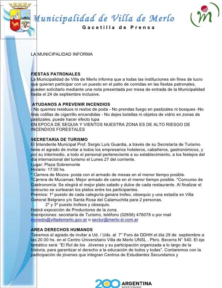 Municipalidad de Villa de Merlo                            Gacetilla de Prensa     LA MUNICIPALIDAD INFORMA    FIESTAS PAT...