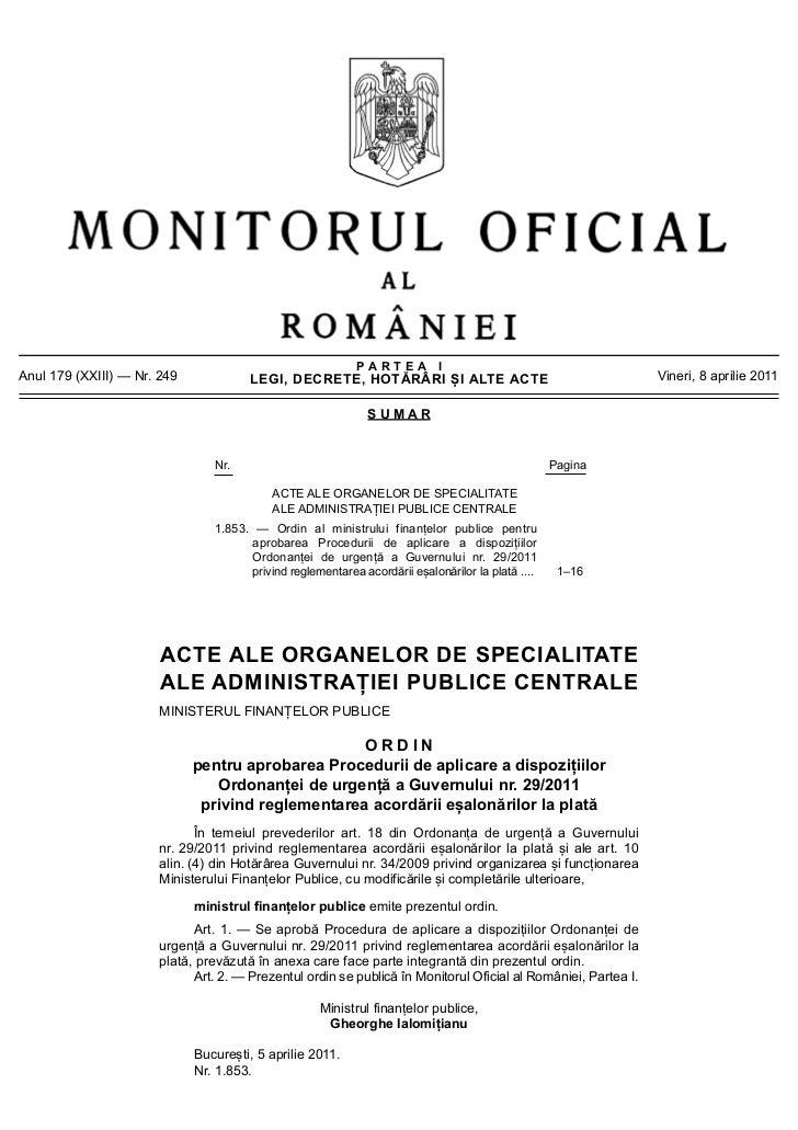 PARTEA IAnul 179 (XXIII) — Nr. 249             LEGI, DECRETE, HOTĂRÂRI ȘI ALTE ACTE                                     Vi...