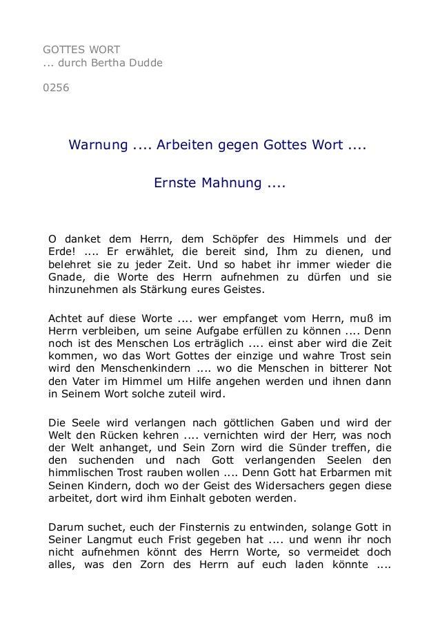 GOTTES WORT ... durch Bertha Dudde 0256 Warnung .... Arbeiten gegen Gottes Wort .... Ernste Mahnung .... O danket dem Herr...