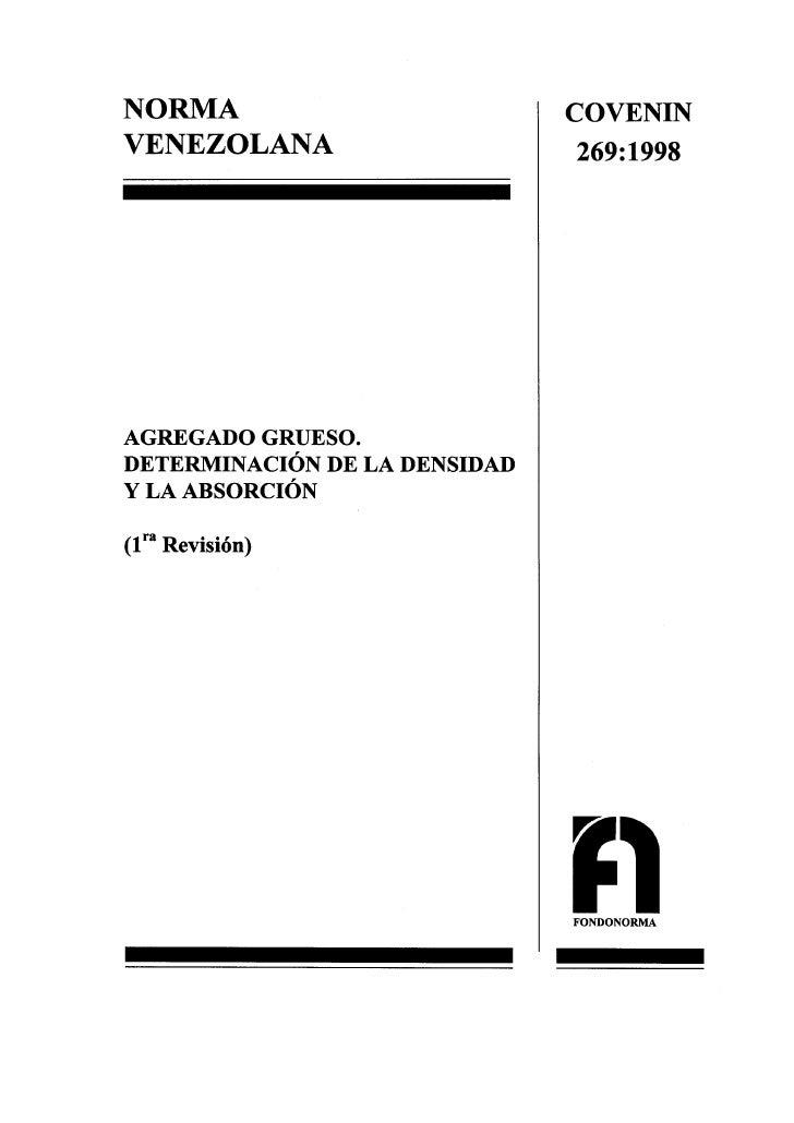 0269 1998 Norma Agregado Grueso