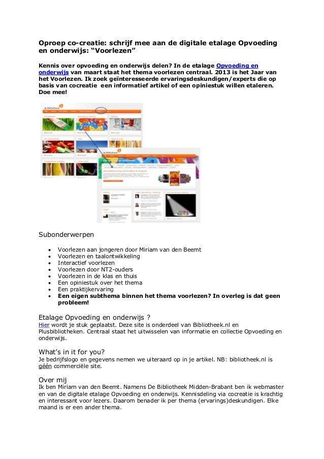 Oproep Cocreatie - Voorlezen - Digitale Etalage Opvoeding en Onderwijs