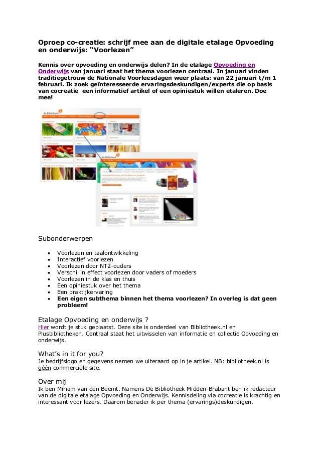 """Oproep co-creatie: schrijf mee aan de digitale etalage Opvoeding en onderwijs: """"Voorlezen"""" Kennis over opvoeding en onderw..."""