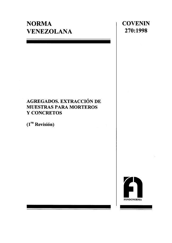 0270 1998 Norma Muestras Agregados