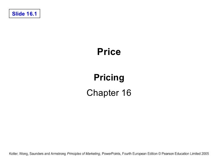 Pricing Chapter 16 Price