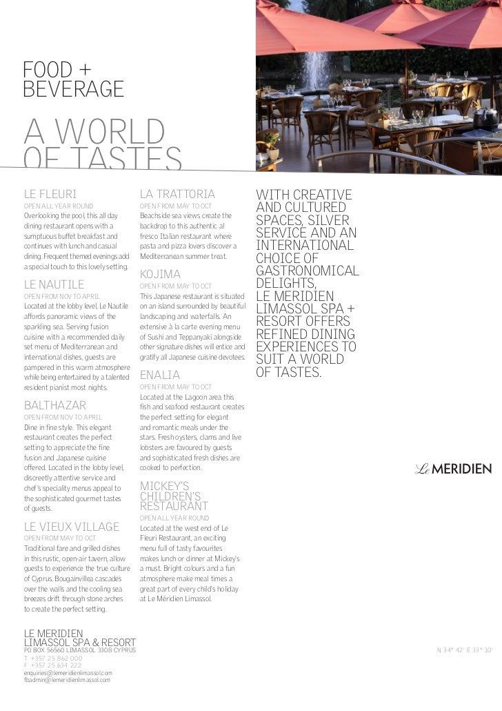 Food and Beverage outlets at Le Meridien Limassol Factsheet