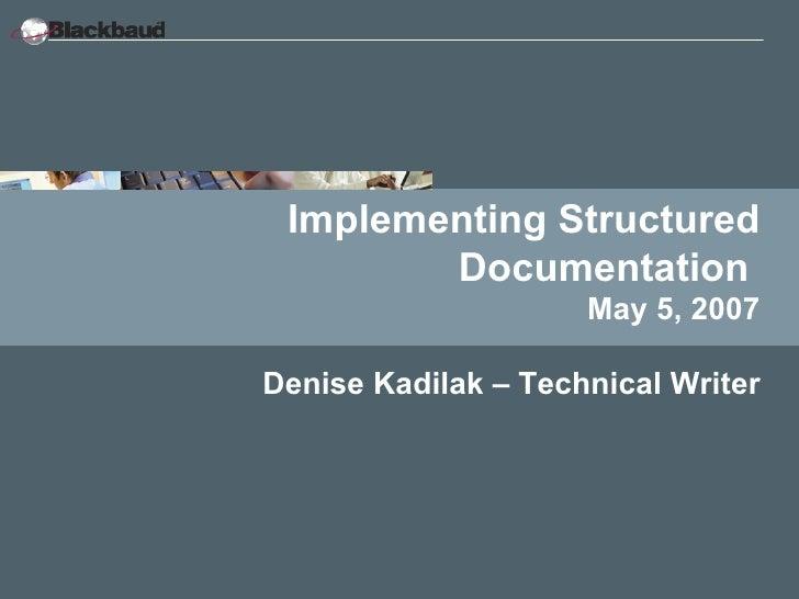 Implementing Structured FrameMaker