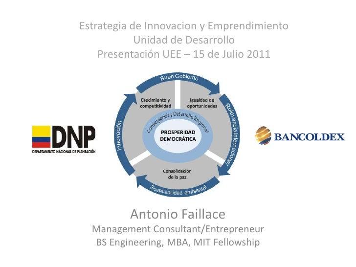 Estrategia de Innovacion y Emprendimiento            Unidad de Desarrollo    Presentación UEE – 15 de Julio 2011         A...
