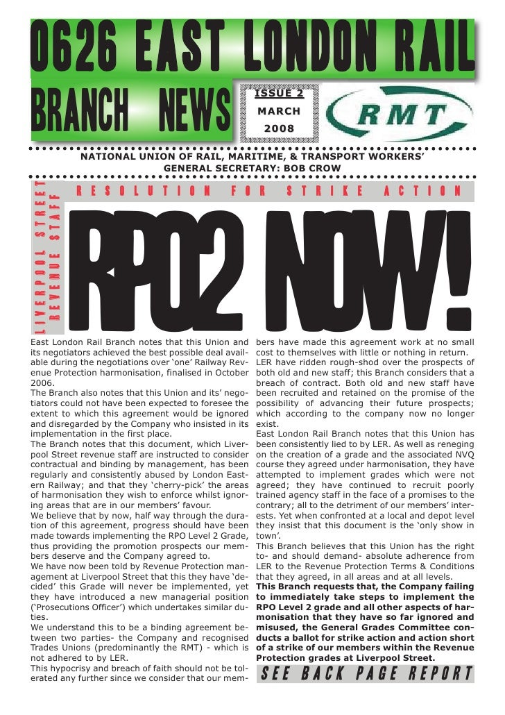 0626 EAST LONDON RAIL                                       ISSUE 2BRANCH NEWS                                            ...
