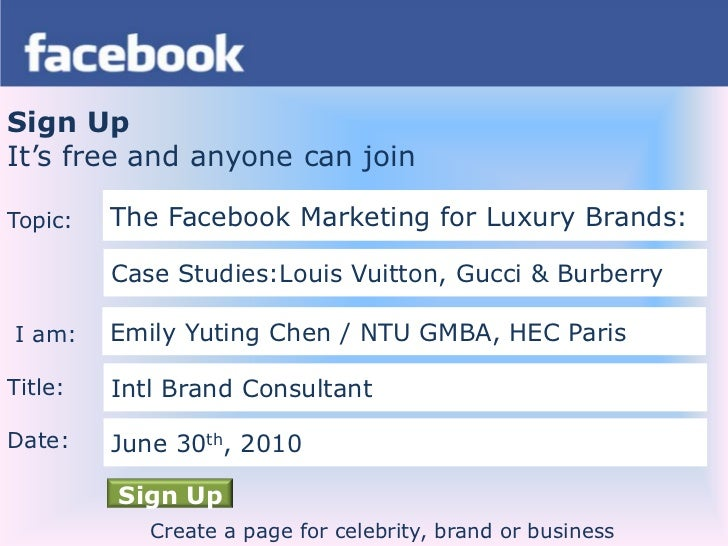 Sign Up<br />It's free and anyone can join<br />Topic:<br /> I am:<br />Title:<br />Date:<br />The Facebook Marketing for ...