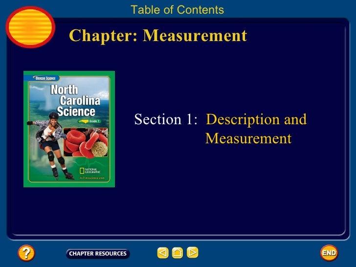 Chapter: Measurement Table of Contents Section 1:  Description and   Measurement