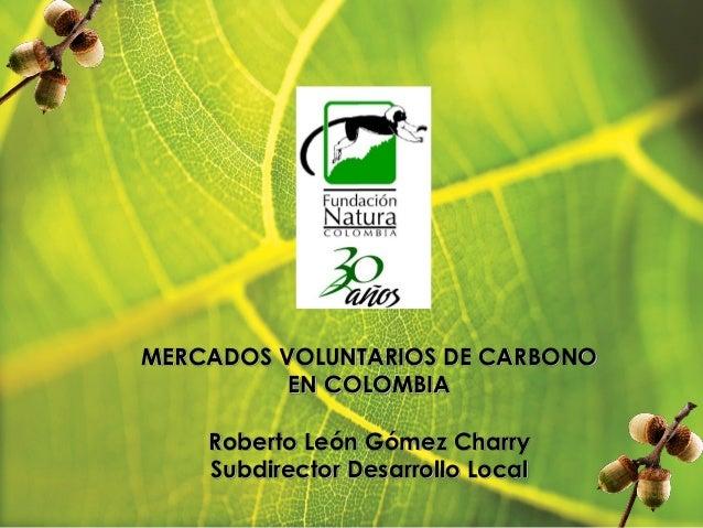 MERCADOS VOLUNTARIOS DE CARBONO EN COLOMBIA Roberto León Gómez Charry Subdirector Desarrollo Local