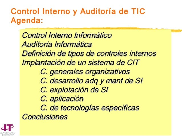 © ITGI 2004 - not for commercial use. 1 Control Interno y Auditoría de TIC Agenda: Control Interno InformáticoControl Inte...