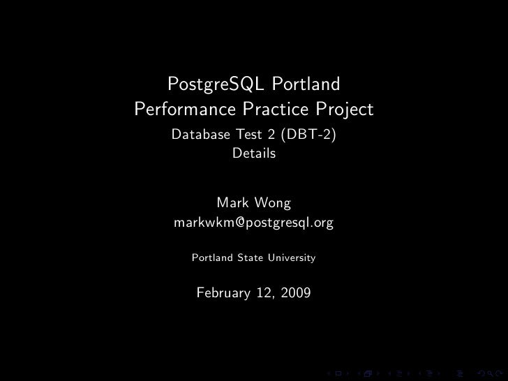 PostgreSQL Portland Performance Practice Project - Database Test 2 Workload Details