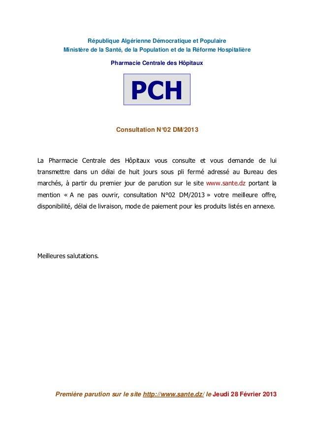 République Algérienne Démocratique et Populaire Ministère de la Santé, de la Population et de la Réforme Hospitalière Phar...