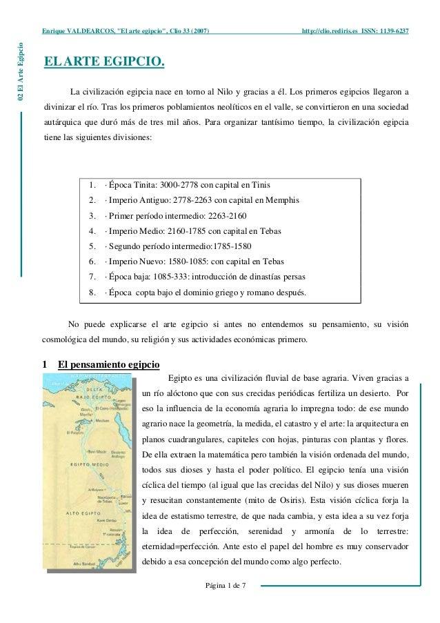 """Enrique VALDEARCOS, """"El arte egipcio"""", Clio 33 (2007) http://clio.rediris.es ISSN: 1139-6237 Página 1 de 7 02ElArteEgipcio..."""