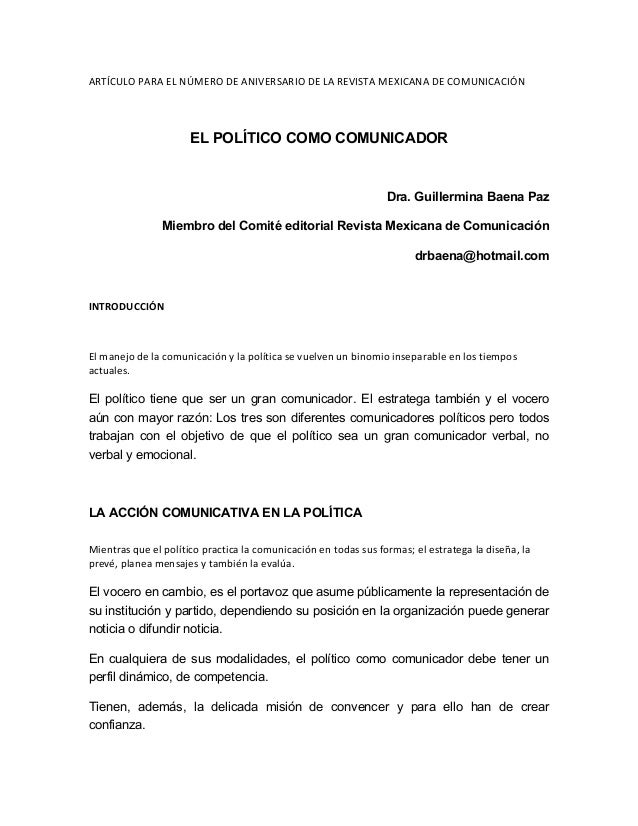 ARTÍCULO  PARA  EL  NÚMERO  DE  ANIVERSARIO  DE  LA  REVISTA  MEXICANA  DE  COMUNICACIÓN      EL...