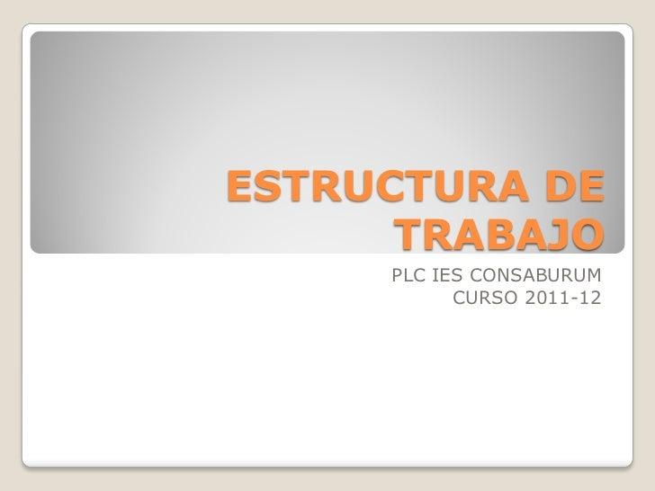 ESTRUCTURA DE      TRABAJO     PLC IES CONSABURUM           CURSO 2011-12