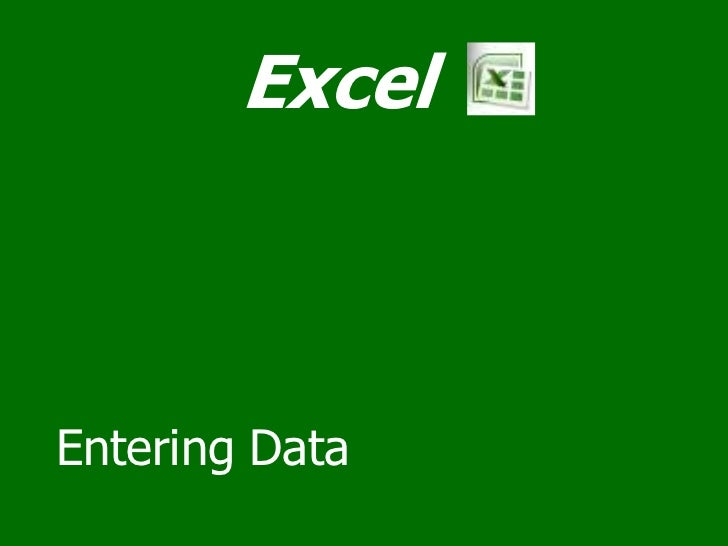 02 Excel entering data