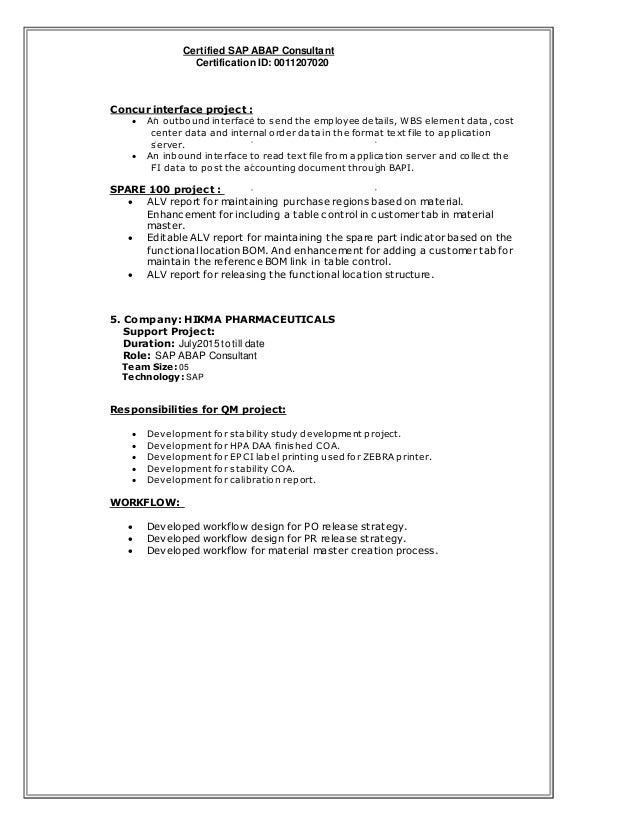 cool sap abap workflow resume gallery resume templates ideas
