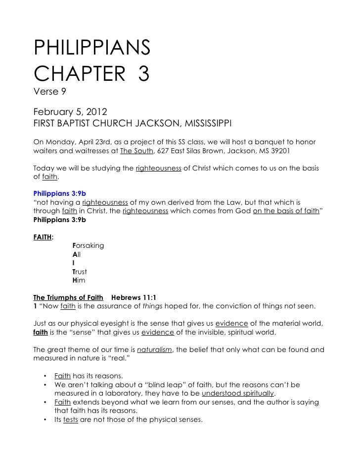 PHILIPPIANSCHAPTER 3Verse 9February 5, 2012FIRST BAPTIST CHURCH JACKSON, MISSISSIPPIOn Monday, April 23rd, as a project of...