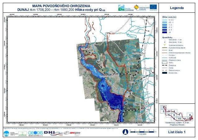Project Danube FLOODRISK, Slovakia, Flood hazard maps, Water depth at flowrate Q100