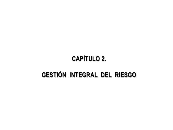 CAPÍTULO 2.GESTIÓN INTEGRAL DEL RIESGO