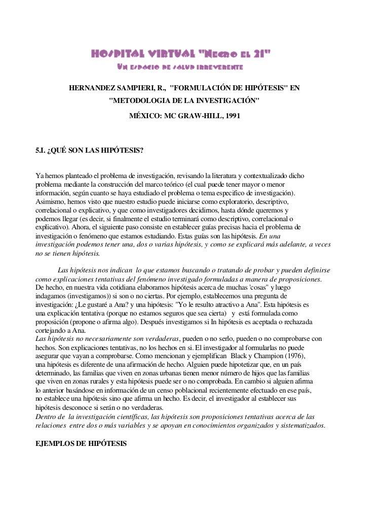 """HERNANDEZ SAMPIERI, R., """"FORMULACIÓN DE HIPÓTESIS"""" EN                         """"METODOLOGIA DE LA INVESTIGACIÓN""""           ..."""