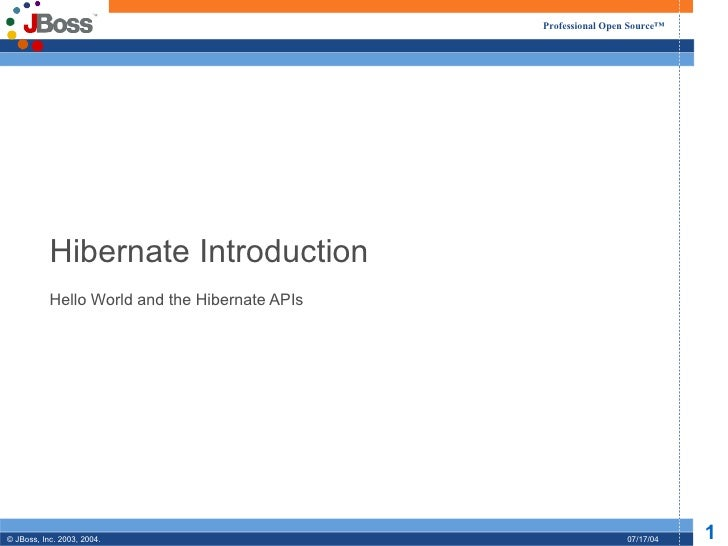 Hibernate Introduction Hello World and the Hibernate APIs