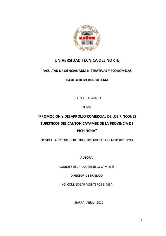 1 UNIVERSIDAD TÉCNICA DEL NORTE FACULTAD DE CIENCIAS ADMINISTRATIVAS Y ECONÓMICAS ESCUELA DE MERCADOTECNIA TRABAJO DE GRAD...