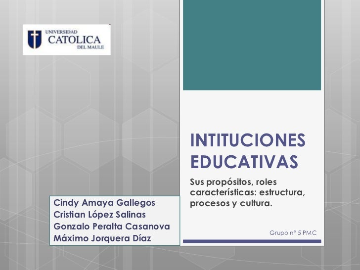 INTITUCIONES                           EDUCATIVAS                           Sus propósitos, roles                         ...