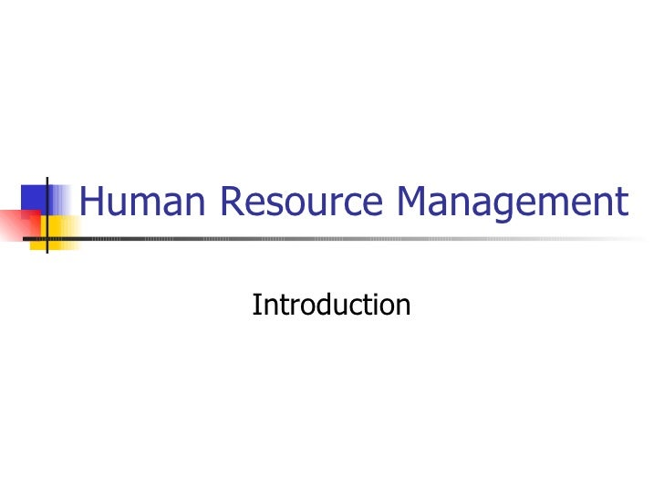 Human Resource Management Introduction