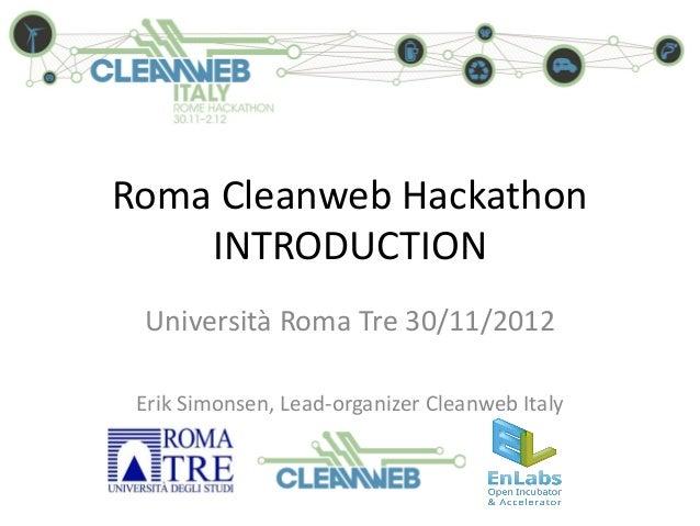 02 Intro to Roma Cleanweb Hackathon 30/11/2012