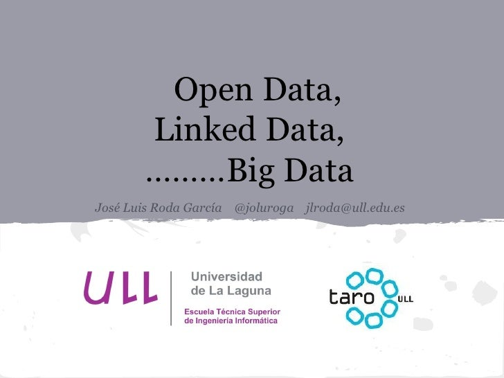 Open Data,       Linked Data,       ………Big DataJosé Luis Roda García @joluroga jlroda@ull.edu.es