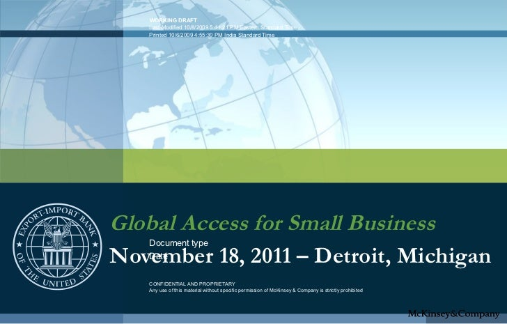 Global Access for Small Business November 18, 2011 – Detroit, Michigan