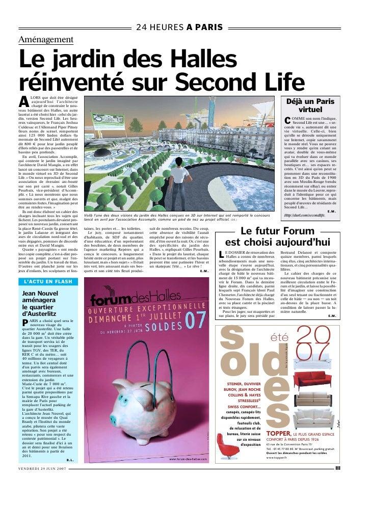 24 HEURES A PARIS Aménagement  Le jardin des Halles r invent sur Second Life A          LORS que doit être désigné        ...