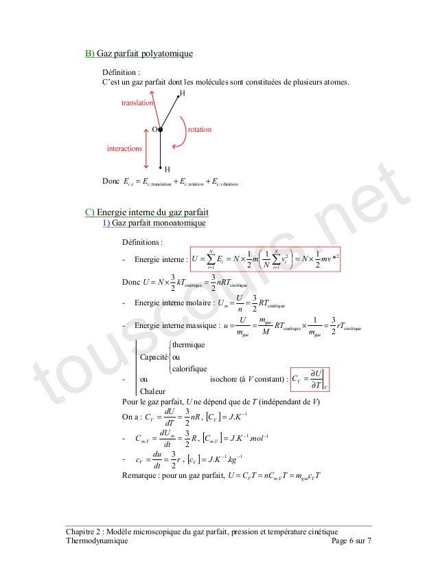 02 modèle microscopique du gaz parfait, pression et ...