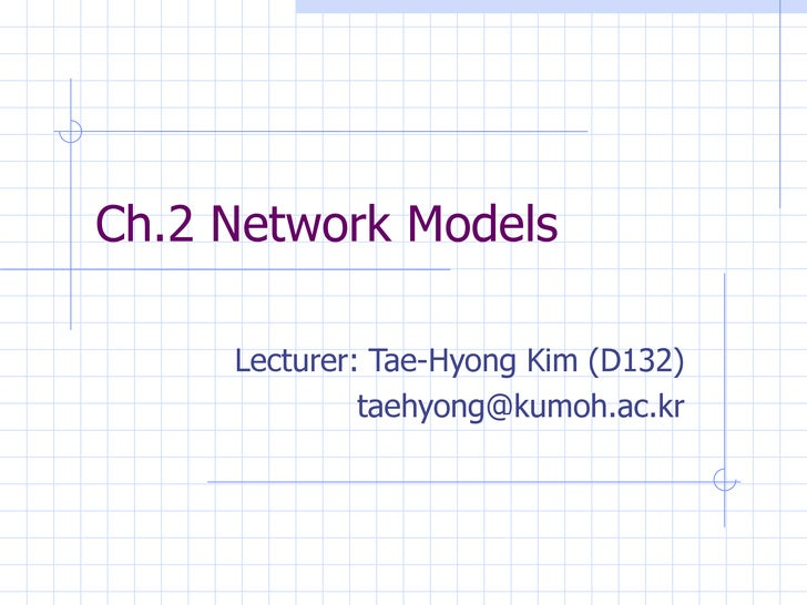 Ch.2 Network Models Lecturer: Tae-Hyong Kim (D132) [email_address]