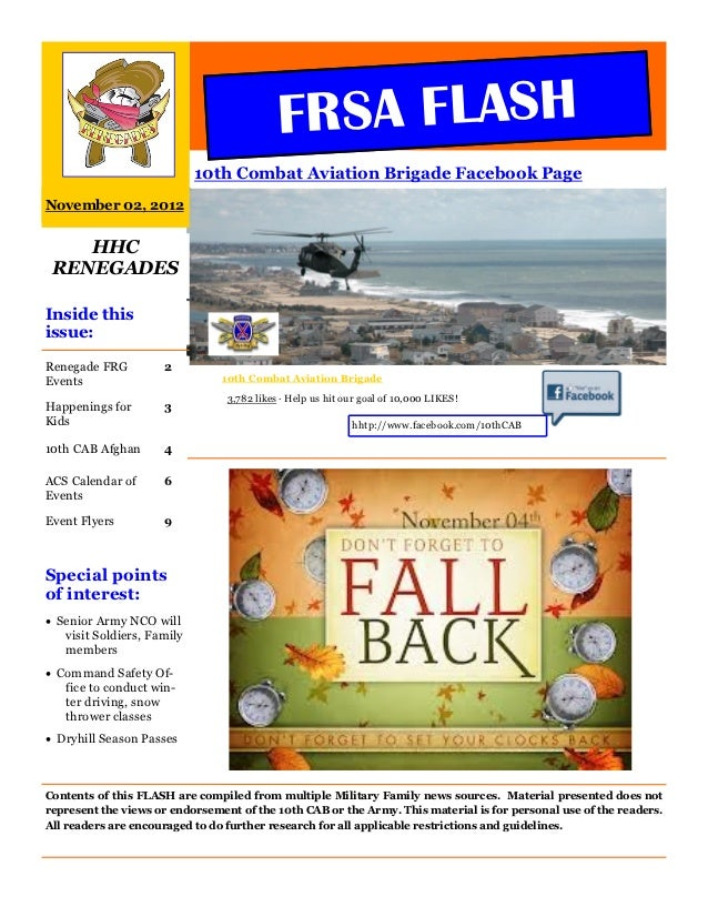 FRSA FLASH                            10th Combat Aviation Brigade Facebook PageNovember 02, 2012    HHC RENEGADESInside t...