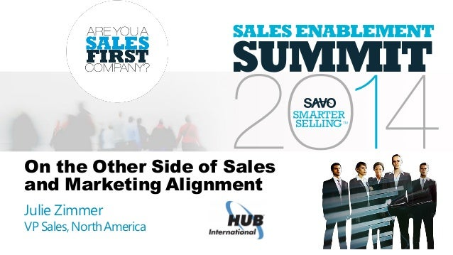 On the Other Side of Sales and Marketing Alignment Julie Zimmer VP Sales,NorthAmerica