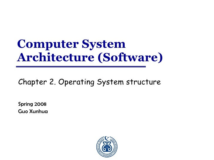 Computer System Architecture (Software) Chapter 2. Operating System structure  Spring 2008 Guo Xunhua